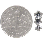 Sterling Silver Two Cherry Blossoms Solderable Charm - Poppies Beads n' More