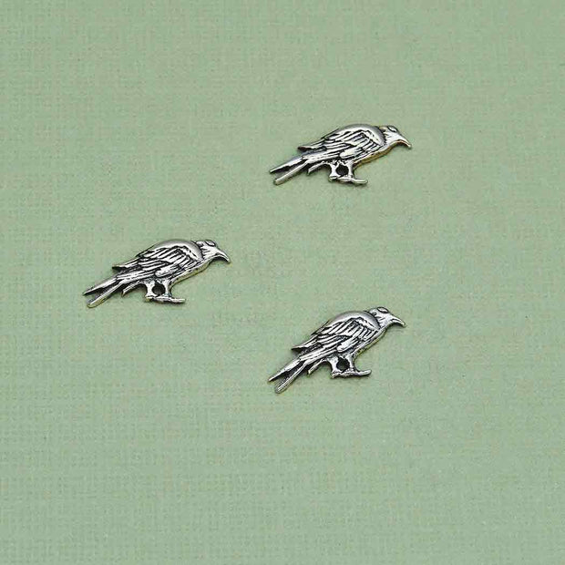 Sterling Silver Raven Solderable Charm - Poppies Beads n' More