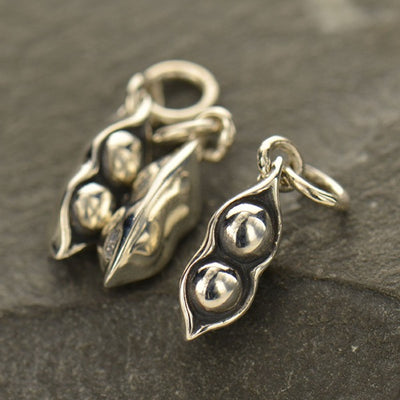 Sterling Silver Two Peas in a Pod Charm - Poppies Beads n' More