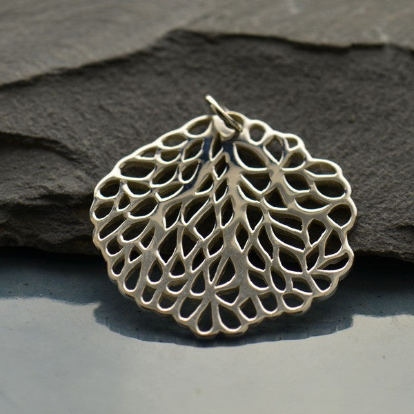 Sterling Silver Round Sea Fan Charm - Poppies Beads n' More