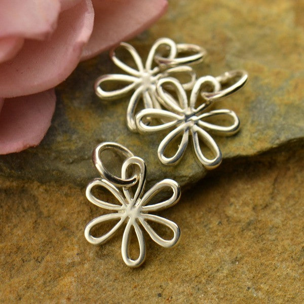 Sterling Silver Daisy Charm with Open Petals - Poppies Beads n' More