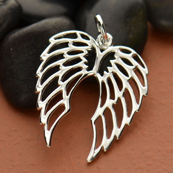 Openwork Sterling Silver Double Wing Charm - Poppies Beads n' More