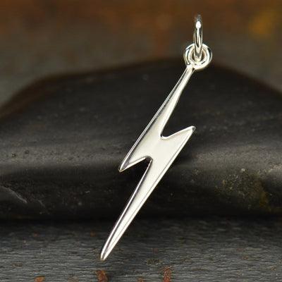 Sterling Silver Flat Lightning Bolt Charm - Poppies Beads n' More