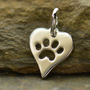 Sterling Silver Heart with Paw Print Charm - Poppies Beads n' More