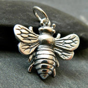 Large Sterling Silver Honeybee Charm - Poppies Beads n' More
