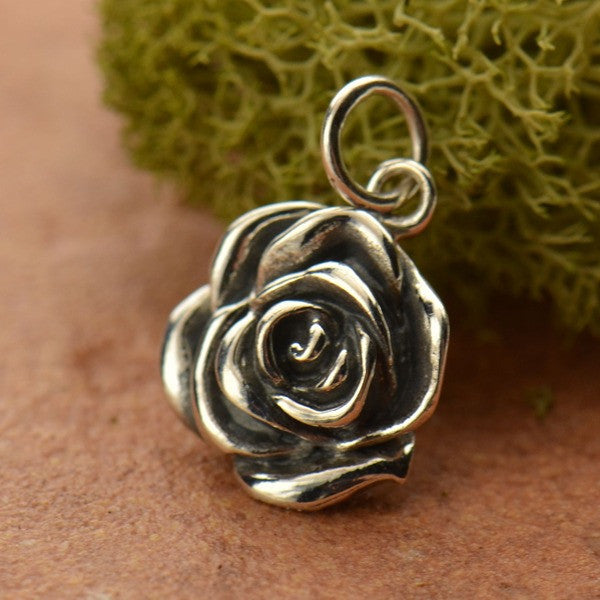 Sterling Silver Rose Charm - Poppies Beads n' More
