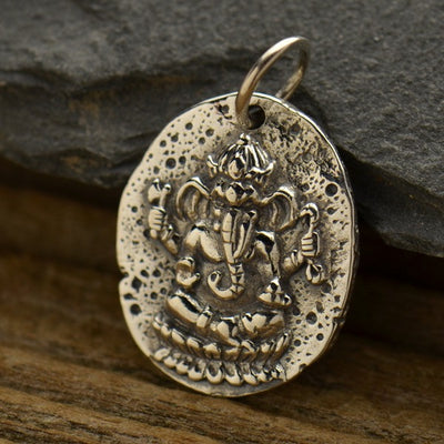 Sterling Silver Ancient Ganesh Coin Charm - Poppies Beads n' More