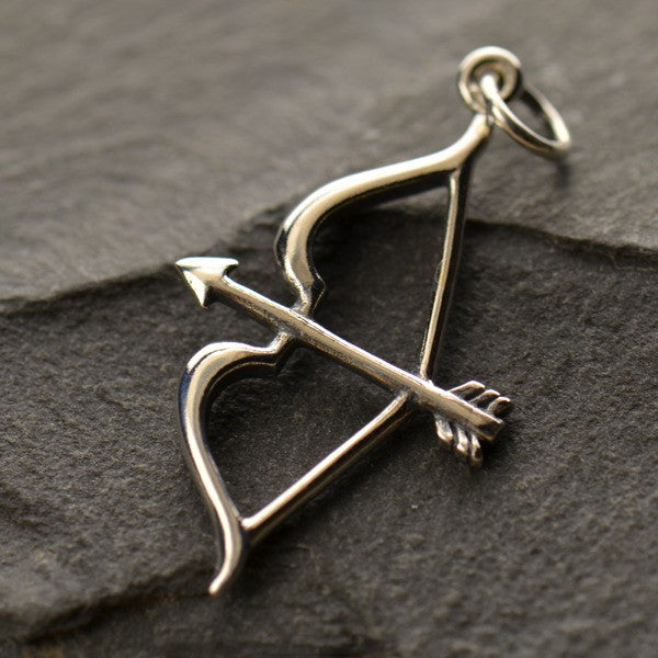 Silver Plated Bronze Bow and Arrow Charm - Poppies Beads n' More