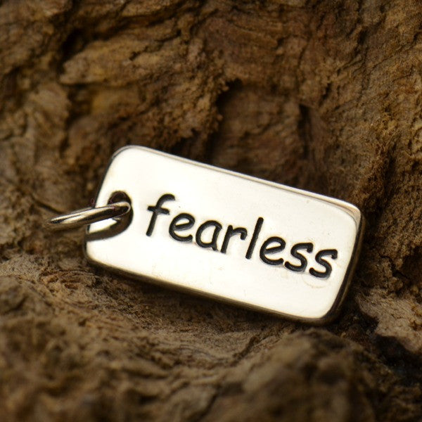 Fearless - Sterling Silver Word Tag - Poppies Beads n' More