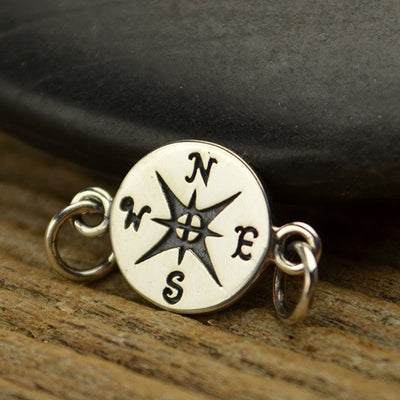 Sterling Silver Compass Link - Poppies Beads n' More