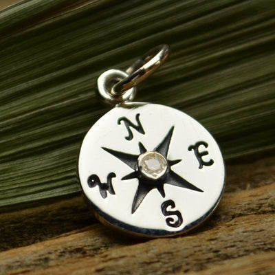 Sterling Silver Compass Charm with 1-pt Diamond - Poppies Beads n' More
