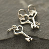 Tiny Sterling Silver Heart Key Charm - Poppies Beads n' More