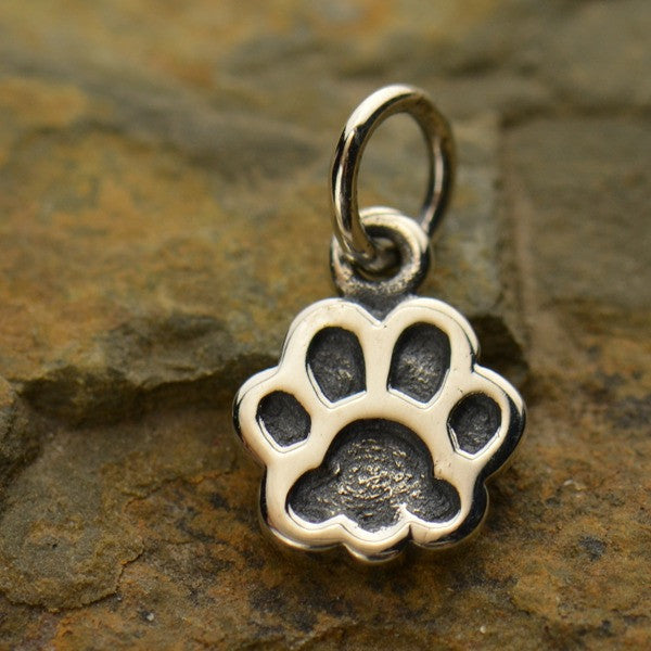 Sterling Silver Dog Paw Print Charm - Poppies Beads n' More