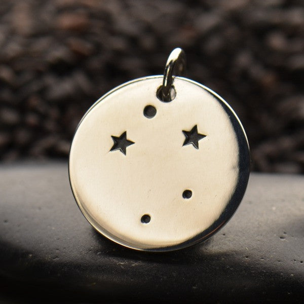 Zodiac Constellation Discs - Sterling Silver - Poppies Beads n' More