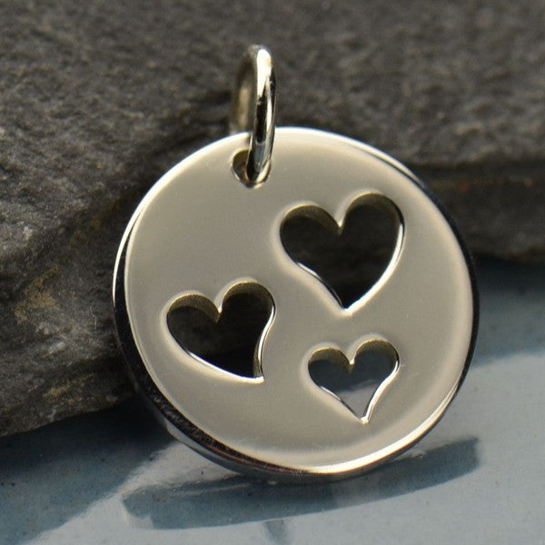 Sterling Silver Disk with Three Heart Cutouts - Poppies Beads n' More