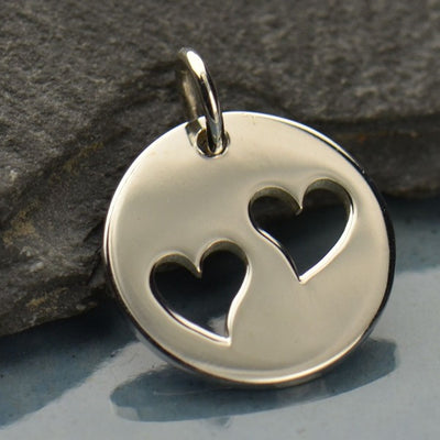 Sterling Silver Disk with Two Heart Cutouts - Poppies Beads n' More