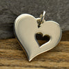 Sterling Silver Large Heart with Cutout Heart - Poppies Beads n' More