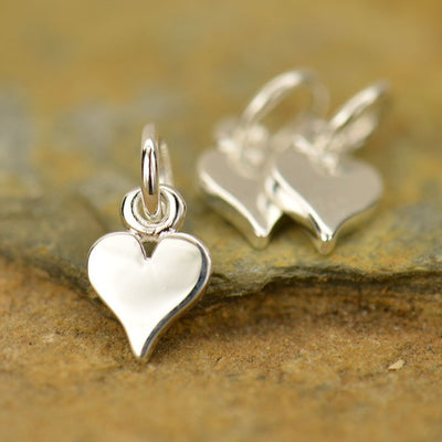 Sterling Silver Tiny Heart Charm - Poppies Beads n' More