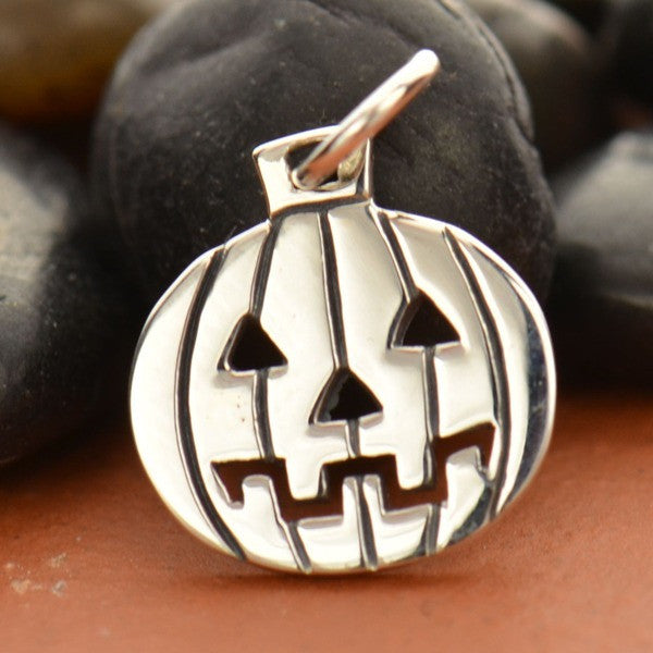 Sterling Silver Jack-O-Lantern Charm - Poppies Beads n' More