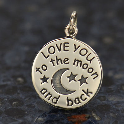 Sterling Silver Love You to the Moon Charm - Poppies Beads n' More