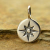 Sterling Silver Small Compass Rose Charm - Poppies Beads n' More