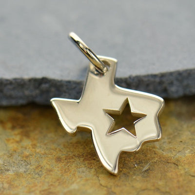Sterling Silver Texas State Charm with Star - Poppies Beads n' More