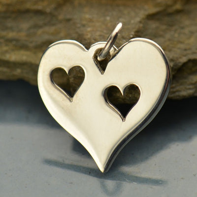 Sterling Silver Heart Charm with Two Heart Cutouts - Poppies Beads n' More