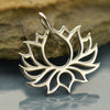 Sterling Silver Wide Symmetrical Blooming Lotus Charm - Poppies Beads n' More