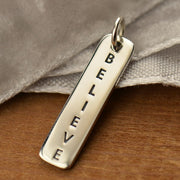 Sterling Silver Vertical Believe Word Tag - Poppies Beads n' More