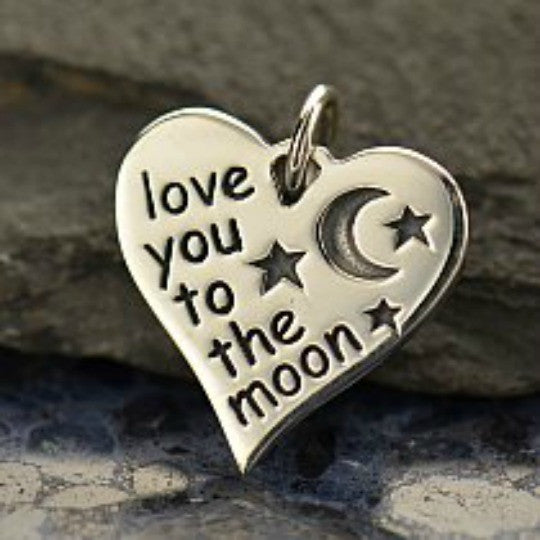 Sterling Silver Love You to the Moon Heart Charm - Poppies Beads n' More