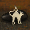Sterling Silver Halloween Cat Charm - Poppies Beads n' More