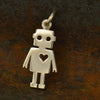Sterling Silver Cut Out Robot Charm - Poppies Beads n' More