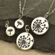 Sterling Silver Big and Small Dandelion Charm Set - Poppies Beads n' More