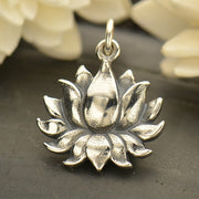 Large Sterling Silver Textured Blooming Lotus Charm - Poppies Beads n' More