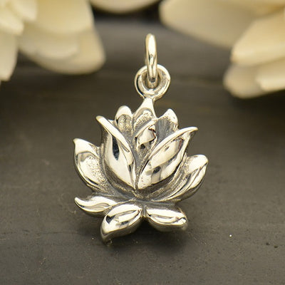 Medium Sterling Silver Textured Blooming Lotus Charm - Poppies Beads n' More