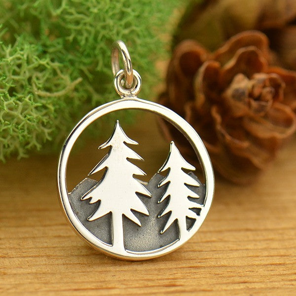 Sterling Silver Tree and Mountain Pendant - Poppies Beads n' More