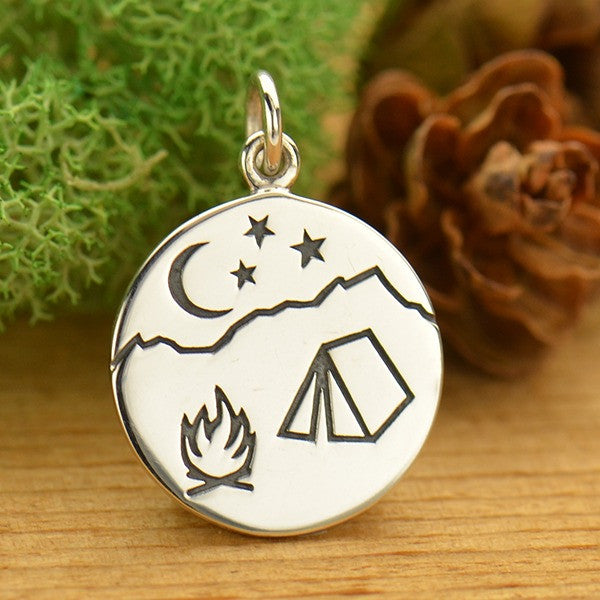 Sterling Silver Campfire Mountain Scene Pendant - Poppies Beads n' More
