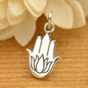 Sterling Silver Hamsa Hand with Etched Lotus - Poppies Beads n' More