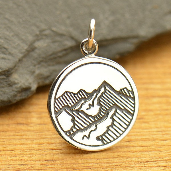 Sterling Silver Etched Mountain Pendant - Poppies Beads n' More