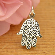 Sterling Silver Hamsa Hand with Etched Swirl Pattern - Poppies Beads n' More