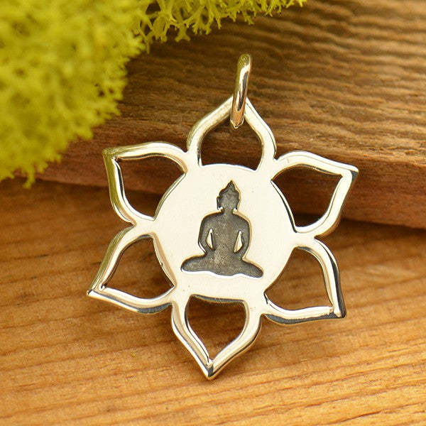 Sterling Silver Meditation Buddha on Lotus Charm - Poppies Beads n' More