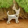 Sterling Silver Silhouetted Chihuahua Charm - Poppies Beads n' More