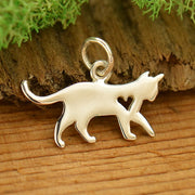 Sterling Silver Silhouetted Cat Charm - Poppies Beads n' More