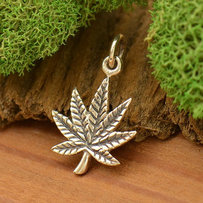 Sterling Silver Pot Leaf Charm - Maple Leaf - Poppies Beads n' More