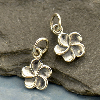 Sterling Silver Plumeria Flower Charm - Poppies Beads n' More