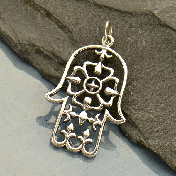 Sterling Silver Large Hamsa Hand Pendant - Poppies Beads n' More
