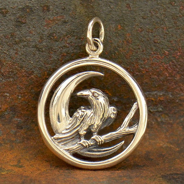 Sterling Silver Raven and Moon Charm - Raven Charm - Poppies Beads n' More