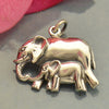 Sterling Silver Mama and Baby Elephant Pendant - Poppies Beads n' More