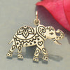 Sterling Silver Decorated Elephant Charm - Etched Elephant - Poppies Beads n' More