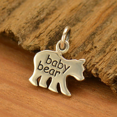 "Sterling Silver Baby Bear - Etched ""Baby Bear"" - Stamping Blank, - Poppies Beads n' More"